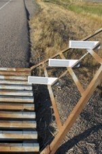 Cattle grid keeps animals from straying; it's noisy to drive over