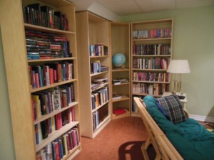 One wall of reference books -- the best form of wallpaper :)