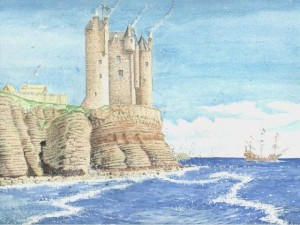 Keiss Castle, drawing by Andrew Spratt