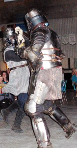 Demonstration of swordsmanship with hand-made armor